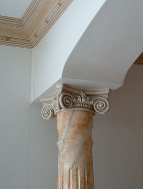 Decorative, architectural interior wood columns sample and photos.