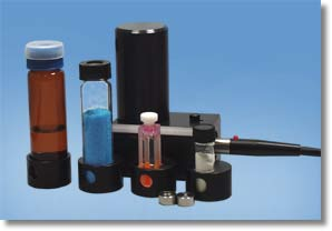 Three cylindrical vial sizes and a quartz cuvet can be accommodated